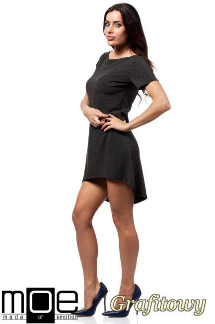 Asymetryczna sukienka - tunika damska wyprodukowana przez firmę MOE.  #cudmoda #moda #styl #ubrania #clothes #women #dresses #sukienki