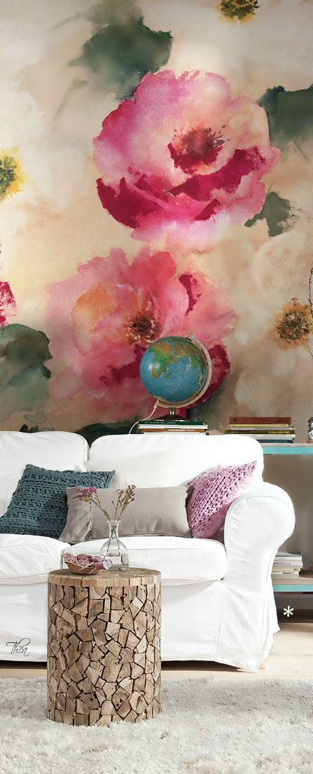 Wow!! This gorgeous watercolour style floral mural makes a big statement in the living room.