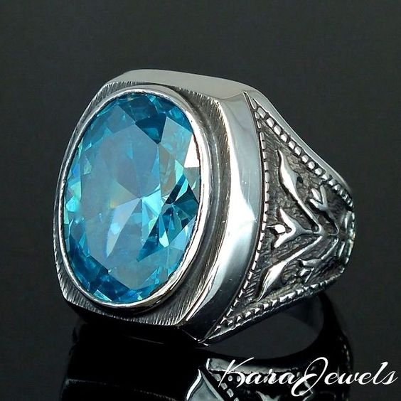 BLUE TOPAZ 14 ct UNIQUE 925 STERLING SILVER MENS RING BY KARAJEWELS #KaraJewels #ArtisanJewelry