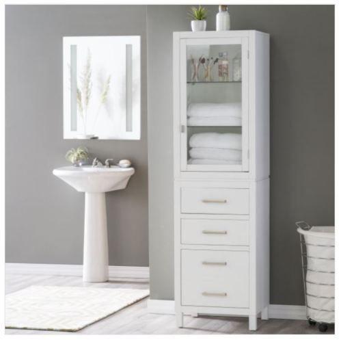 Tall Linen Cabinet Bathroom Glass Shelf Drawer Bath Towel Storage Display Case Ebay Tall Bathroom Storage White Bathroom Storage Bathroom Floor Cabinets
