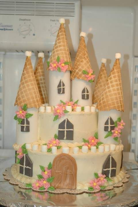 All buttercream frosted except for door, windows and turrets those are fondant.