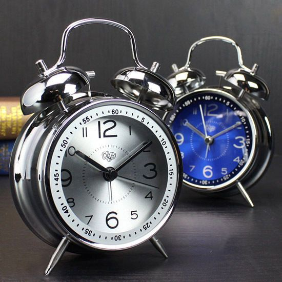 Creative Alarm Clock Metal Double Bell Bedroom Analog Quartz Clock W/Night  Light
