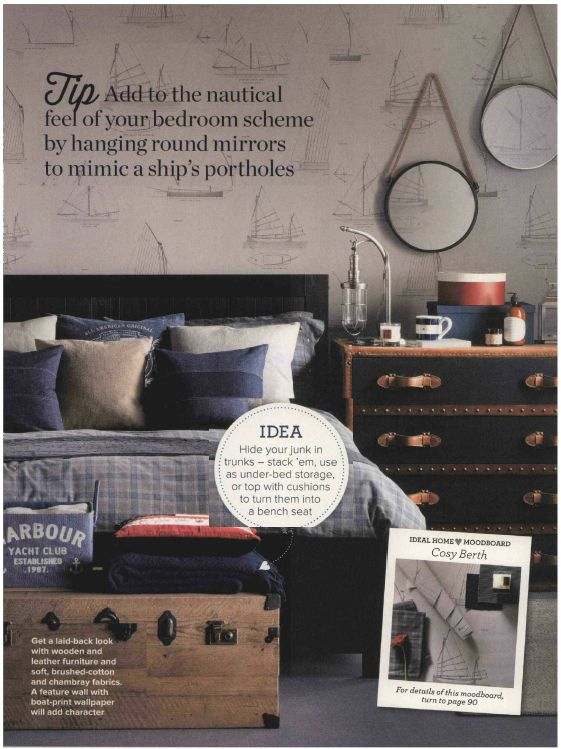 Our Eton Chest in a lovely nautical bedroom- Ideal Home Feb 2014! #featherandblack #trunks #nautical