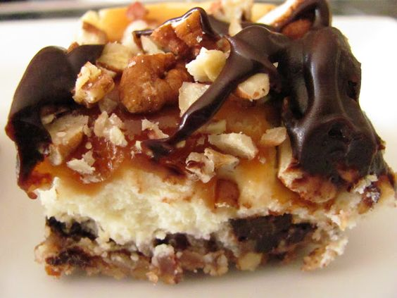 Turtle Cheesecake Bars - cheesecake with caramel, pecans, and semi-sweet chocolate!