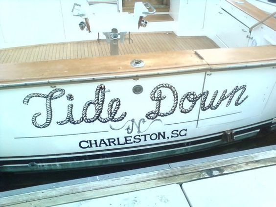 """Tide Down"" boat decal"