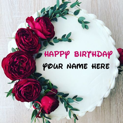 Generate Name On Rose Flower Birthday Cake Beautiful Floral Art Cake With Name On I Birthday Cake With Flowers Happy Birthday Cake Images Friends Birthday Cake