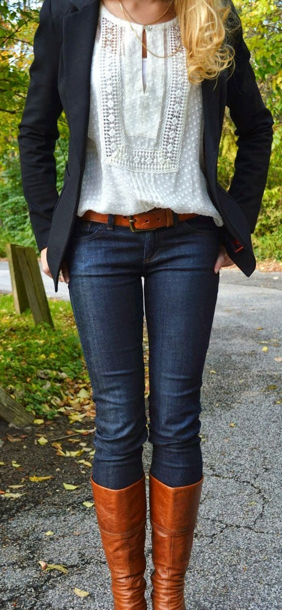 White Lace Shirt with Black Blazer, Blue Jeans and Long Brown Shoes ~ Fashion Frenzy