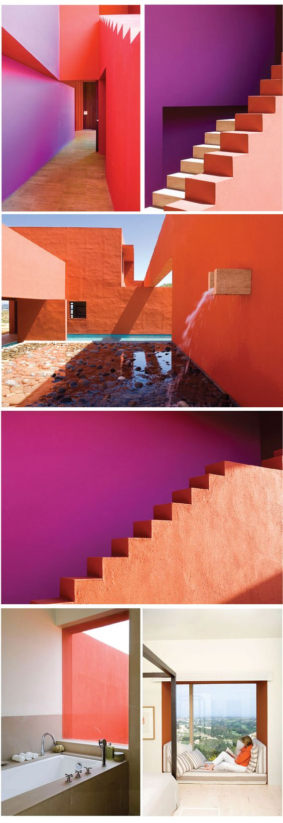 Admiring the bold color blocking created on the exterior surfaces of this residence in Legorreta, Spain. The interior is painted in a more neutral palette with the exterior colors repeated with discretion. You can see more images of this house on the website, 1st Option, a UK location sourcing company.