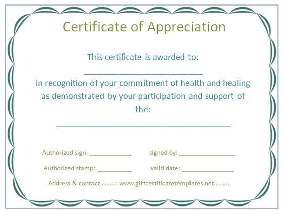 Certificates Of Appreciation - Templates, Samples \ Wording Arts - certification of appreciation wording
