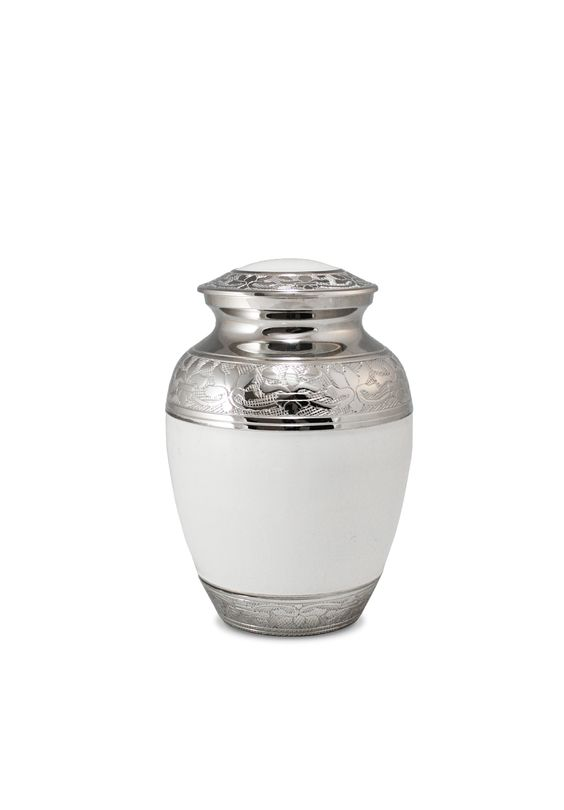 Small white cremation urn http://www.casketsdirect.com.au/products/cremation-urns-medium-white-enamel-and-nickel.html