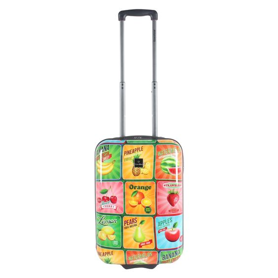 #Handgepäck Saxoline Fruits bei Koffermarkt: ✓Koffer mit bunten Früchten ✓2 Rollen ✓Hartschale ✓IATA-konform ✓mit  Zahlenschloss ⇒Jetzt kaufen