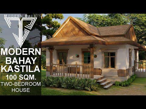 Modern Bahay Kastila 100sqm Two Bedroom House With Interior Design Modern Balai Youtub Village House Design Modern Interior Design Bungalow House Design