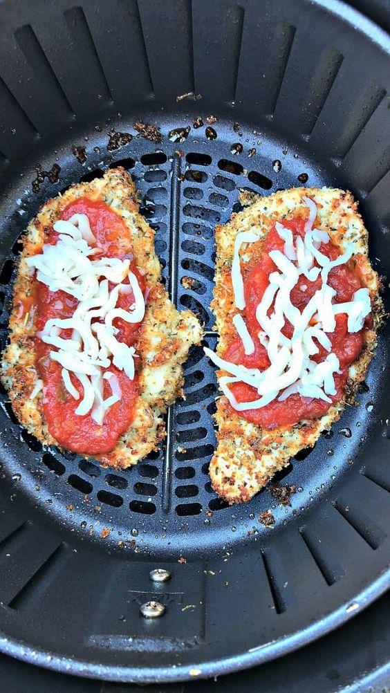 Air Fryer Panko Breaded Low-Fat Chicken Parmesan with Marinara Sauce