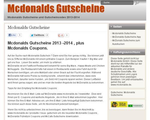 Mcdonalds Gutscheine 2013 -2014 , plus Mcdonalds Coupons. Geld Sparen bei Mcdonalds? Alle Mc Donalds Gutscheine, Angebote, Rabatte auf 1 Seite - Gutschein Mcdonalds