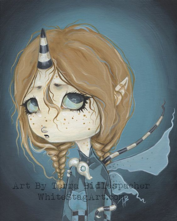 Fairy goth dragon girl lowbrow big eye fantasy art by WhiteStag