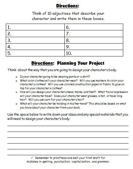 Character Body Book Report Projects  templates  printable     Character book report rubric