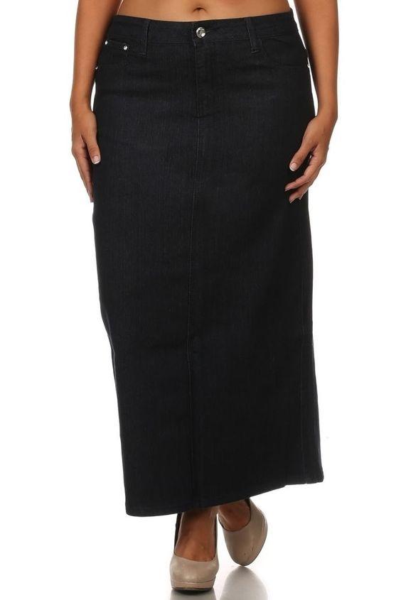 Women's Jeans Skirt Long Skirt Stretch Skirt Black Denim Skirt