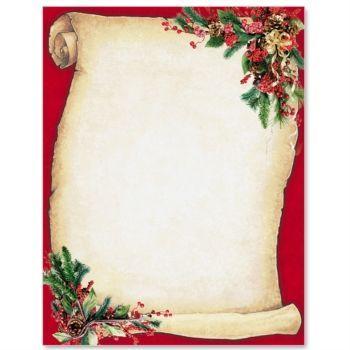Christmas scroll letterhead border papers holiday stationery paper and stationery for Christmas stationary border