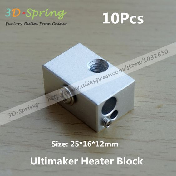 $12.00 (Buy here: http://appdeal.ru/7s4u ) 10Pcs Ultimaker Heater Block Extruder For Aluminium Print Head Hot End Heating Block 25*16*12 25x16x12 mm For 3D Printer for just $12.00