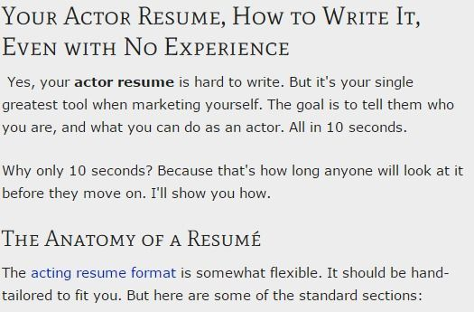 Your Actor Resume Format your Resume Even with No Experience - how to write a resume for an audition