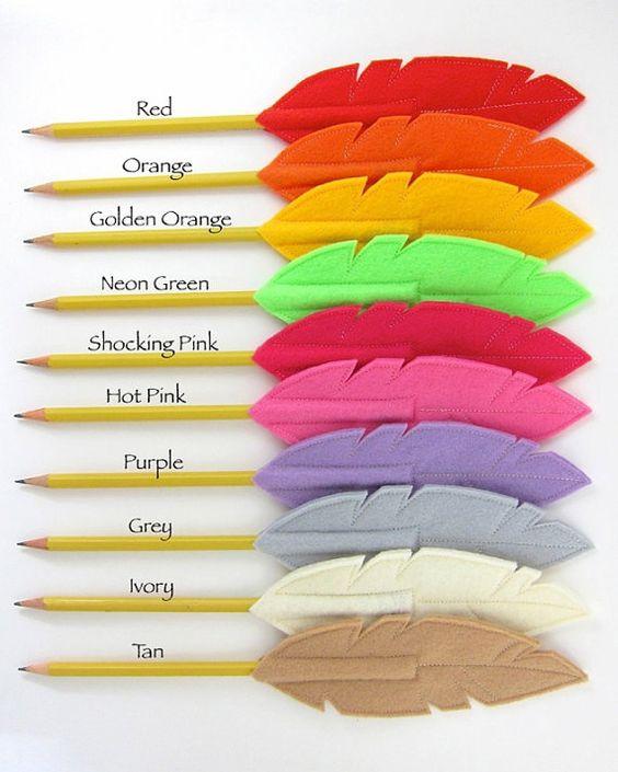Felt Feather Pencil Topper Quill Writer от snowbella на Etsy