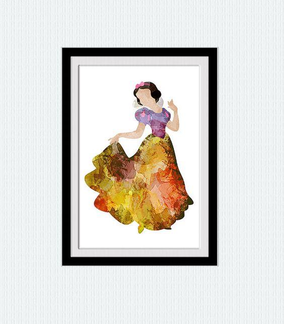 Snow White watercolor poster Snow White colorful por ColorfulPrint