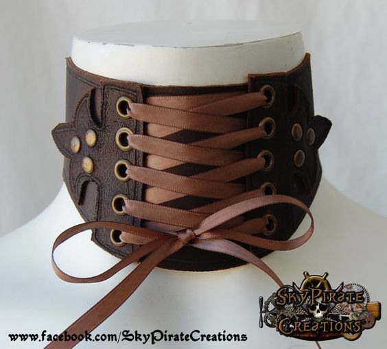 Steampunk Katherine Leather Neck Corset by SkyPirateCreations, €25.00