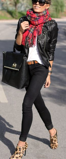 "Wouldn't wear the ""skinny jeans"".....but I love the black jeans, black jacket and red plaid scarf!"