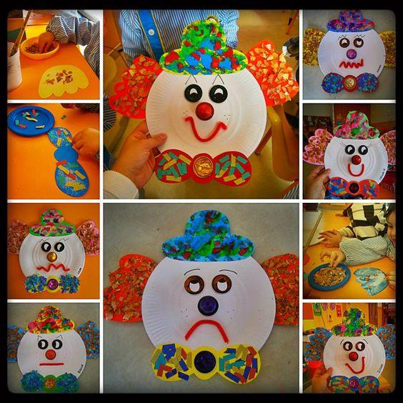 Idea súper fácil para el Carnaval: Con un plato, témperas y botones pueden armar máscaras de payasos felices y tristes.    www.mimitoshop.com.ar