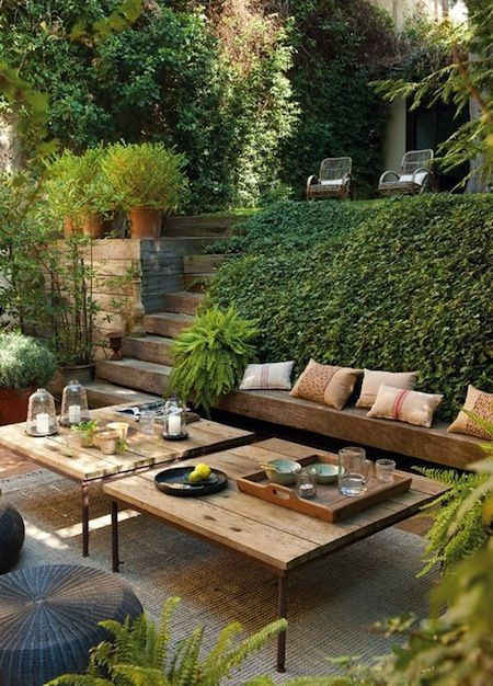Terraced backyard: