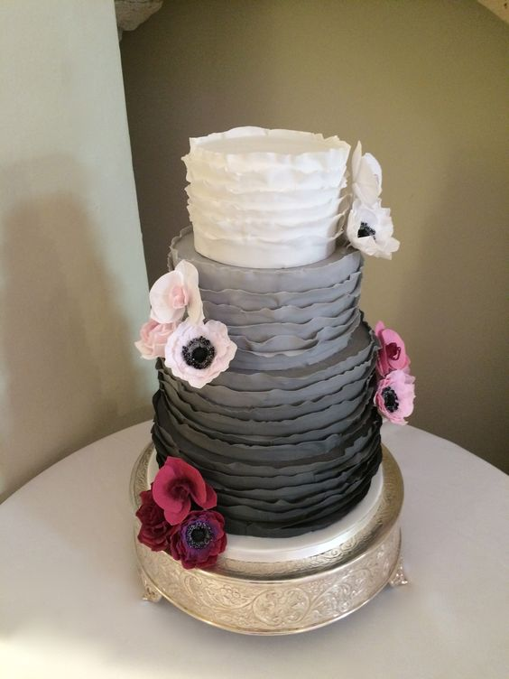 4 Tier Ombre Ruffle Cake with sugar roses, orchids & anemones at Farnham Castle