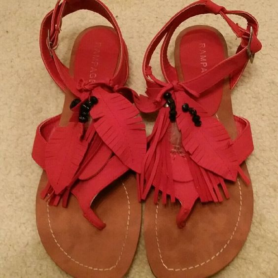 Bright red Rampage flat sandle Gently used. Very good condition. Rampage Shoes Sandals
