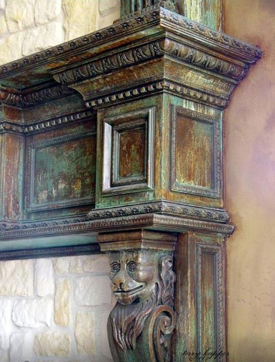 Oxidized Finish On A Fireplace Mantel With Metal Effects