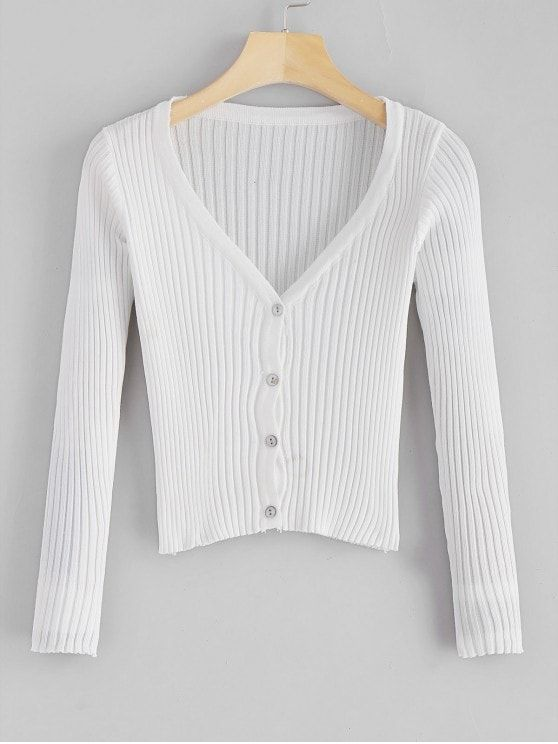 V Neck Button Up Cropped Ribbed Cardigan WHITE ONE SIZE