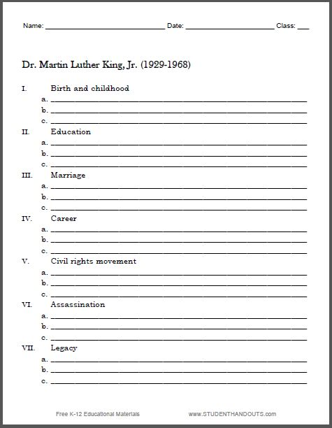 Martin Luther King Biography Outline Worksheet - Free printable - speech outline
