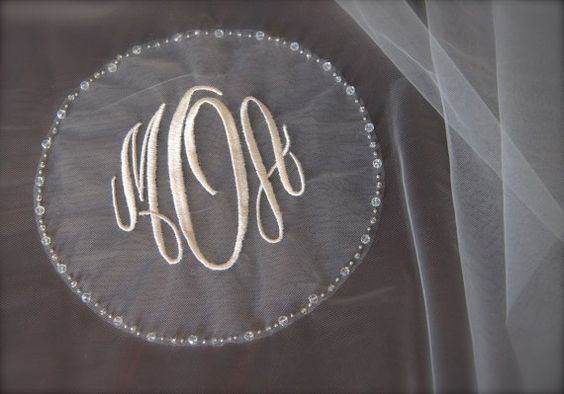 Circle monogram veil with bride and groom s initials