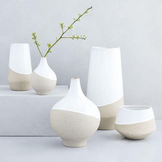 Half Dipped Stoneware Vases West Elm Stoneware Vase White Ceramic Vases Vases Decor