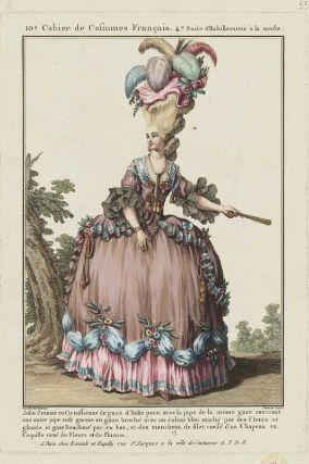 """""""Jolie Femme en Circassienne de gaze d'Italie puce, avec la jupe de la meme gaze couvrant une autre jupe rose garnie en gaze broché avec un ruban bleu ataché par des Fleurs et glands et gaze Bouilloné par en bas, et des manchette de filet, coiffé d'un Chapeau en Coquille orné de Fleurs et de Plumes"""", Gallerie des Modes, 1778; MFA 44.1319"""