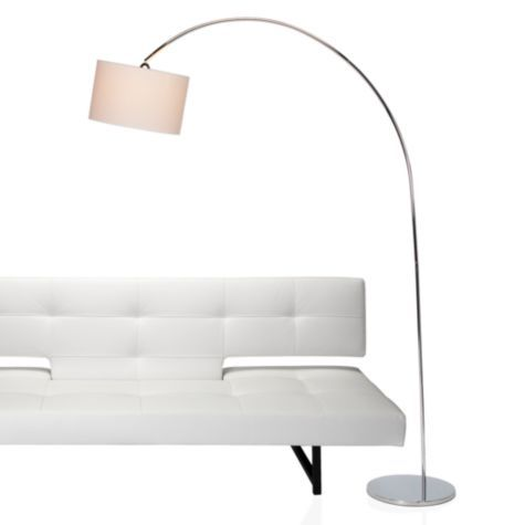 Enzo Floor Lamp - Chrome $299    This would be unbelievably handy since apparently they don't put lights in living rooms anymore.