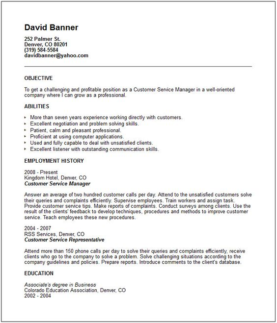 Customer Service Resume, Customer Service And Resume On