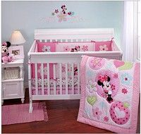 Minnie Mouse 4pc Disney Baby Girl Appliqued Cot Bedding