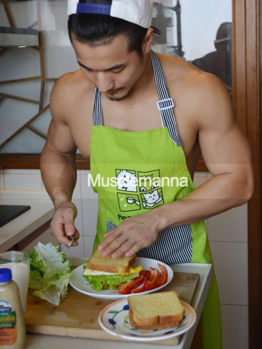 Asian hunks with apron are hot