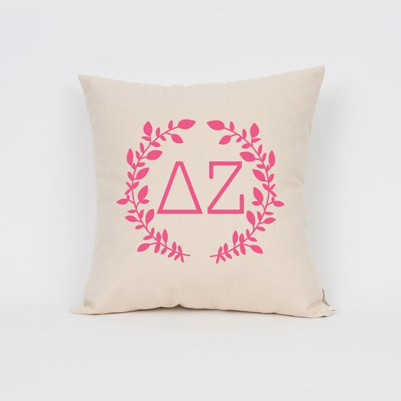 Delta Zeta Wreath Pillow // Choose Your Ink Color // Greek Letter Pillows // Sorority Pillow // Big Little Gift // Sorority Letters by Sororitee on Etsy https://www.etsy.com/listing/203628011/delta-zeta-wreath-pillow-choose-your-ink