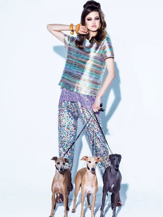 Lindsey Wixson poses with dogs for Vogue Brazil. Photographed by Jacques Dequeker:
