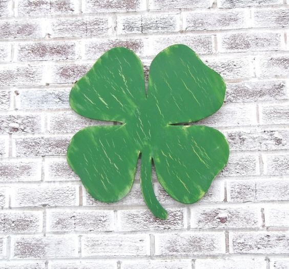 St. Patrick's Day!    Large unique wood cut out shaped sign!  Lucky shamrock shape!   #irish #st patricks #day