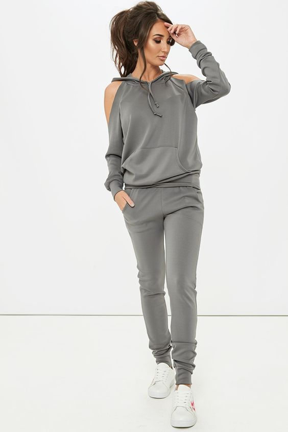Megan McKenna Grey Cold Shoulder Loungewear Set
