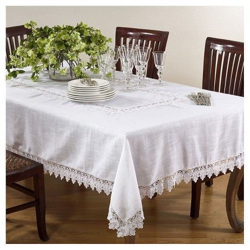 Lace Trimmed Tablecloth Table Cloth White Table Cloth Dinning Room Table Decor