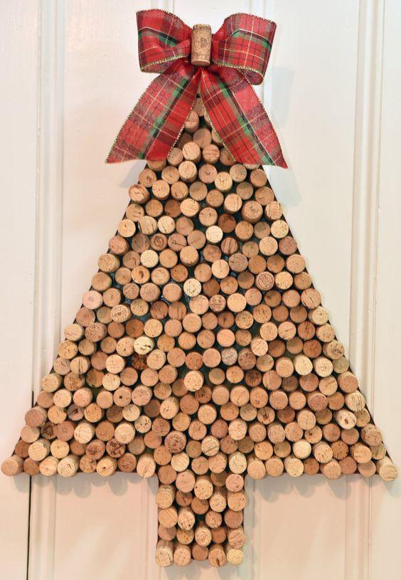 Titulaire de la carte de Noël vin Cork sapin par uncorKedbyKimberly