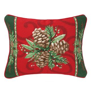 Christmas Bayberry Pine Needlepoint Pillow