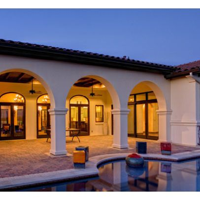 Home design home and pools on pinterest for Hacienda design ideas